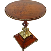 French Wood and Bronze Pedestal Gueridon Small Round Occasional / Side Table - c. 19th Century
