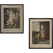 Pair Antique Color Engravings from series ' Cries of London ' of Street Sellers Plates 8 and 1
