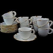 Set 12 Royal Crown Derby Regency Pattern Tea Cups & Saucers White Gold Trim