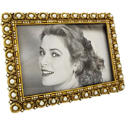 Berebi Jewelled Picture Frame Pearl Bead Swarovsky Crystals Gold Plated Easel Back Limited Edi
