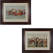 Pair of Sporting Horse Racing / Steeple Chase Color Lithographs Framed - 1885 & 1888, Engl