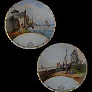 Pair Antique Limoges Seascape Scenic Plates Resembling Fans - c. 1882-1898, France