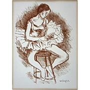 Seated Ballerina Lithograph Russian born Moses Soyer - 20th Century, USA