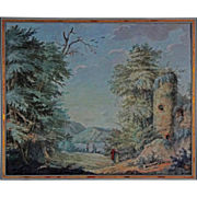 Antique Gouache Castle Ruins Painting in Woody Landscape with Lake and Figures  - c. 18th Cent