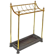SOLD Antique English Twelve-Slot Brass Umbrella / Walking Stick Stand with Removable Drip Pan