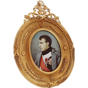 Napoleon Bonaparte Large Oval Miniature Portrait in French Gilt Bronze Ormolu Frame - 19th Cen