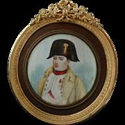 Napoleon Bonaparte Signed Miniature Portrait Painting Gilt Bronze Frame - 19th Century, France