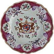SOLD French Armorial Plate Porcelain Lions Shield Coat of Arms Chinese Export / Lowestoft / Br