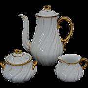 Early Tea Set Sarreguemines Louis XV White Gilt Porcelain Tea Pot, Cream and Sugar Bowl - c. 1