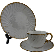 Pair Early French Sarreguemines Louis XV White Gilt Porcelain Cup, Saucer, Plate Trio - c. 190