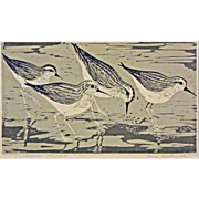 Limited Edition Sandpipers Woodblock Print signed Elaine Wentworth - 20th Century, Boston