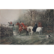 SOLD Antique Color Hunting Scene after Heywood Hardy Lithograph - c. 1900's, England
