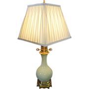 Celadon Porcelain Electrified Oil Table Lamp French Bronze Mount