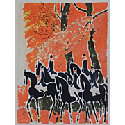 SOLD Andre Brasilier Riders in the Forest Modern Color Lithograph  - circa 1968, France