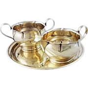 Gorham Sterling Creamer and Sugar Bowl with Circular Raised Border Sterling Tray - 20th Centur
