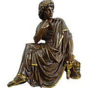 Bronze Sculpture Roman Poet as a Young Man signed L. Pilet - c.19th/20th Century, France