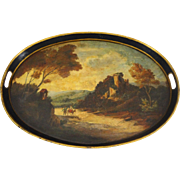 Large Black Tole Tray Oval Painted Pastoral Landscape Handles Black - c. 19th/20th Century