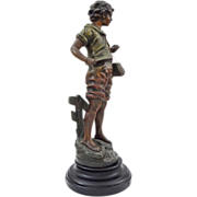 "French Fisherboy / La Bone Peche 18"" Color Patina Spelter Figure after L. and F. Moreau -"