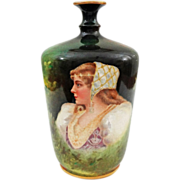 "Royal Bonn Portrait Vase Renaissance Style Lady 7"" Tall Green - 1890-1920, Germany"