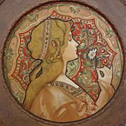 SOLD Art Nouveau Femme à la Marguerite Color Lithograph signed J Atche - c. 1900's, France