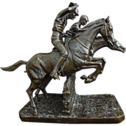 French Equestrian Steeplechase Bronze Sculpture after Isidore Bonheur