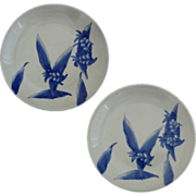 Pair of Japanese Arita Plates Celadon Glaze and Cobalt Blue Ginger Lily Design - c. 20th Centu