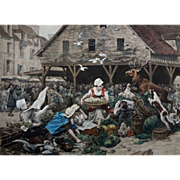 Hallali in a Market (Hallali dans un marché) after Charles Delort, Color Photogravure by Goup