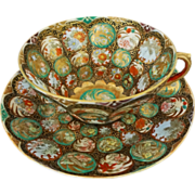 SOLD Millefleurs / Thousand Flowers Japanese Porcelain Cup Saucer Signed - Meiji, Japan