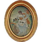 Silkwork Needlework Embroidery Picture Allegory of Summer Oval Gilt Frame - c. 1830