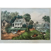 American Homestead Summer Currier & Ives Best 50 Hand Colored Lithograph  - 1868, New York