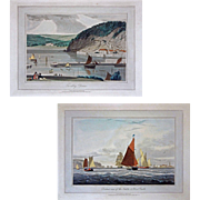 SOLD Pair Colored Aquatints Drawn and Engraved by William Daniell (1769-1837) - 1825, England