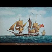 SOLD Color Lithograph Fregate Anglaise en Panne after Jean-Jérome BAUGEAN