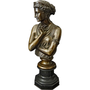 French Bronze Bust of Helen of Troy signed J. Clesinger Rome 1860 / Barbedienne Fondeur - 19th
