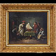 Oil on Canvas German Genre Painting The Pilot Exam  ( Das Lotsen-Examen ) - 19th Century, Germ