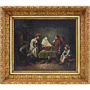 Oil on Canvas German Genre Painting The Pilot Exam  ( Das Lotsen-Examen )