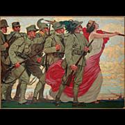 Leopoldo Metlicovitz Poster Sempre Avanti!! Liberty Style  - c. 1916, Milano