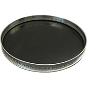 Circular Silver Plated Gallery Cocktail Tray with Black Melamine - 20th Century, Italy