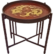 Chinoiserie Burgundy Red Gilt Lacquer Papier Mache Circular Tray Table with Faux Bamboo Legs .