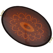 Large English Inlaid Mahogany Oval Serving Handled Tray- England