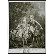 Royal Children Charles Philippe and Clotilde on a Goat Engraving by Beauvarlet after Drouais -