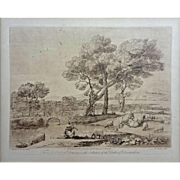 SOLD Sepia Etching after drawing from Claude Le Lorrain's Liber Veritatis ('Book of Truth') -