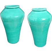Pair Japanese Monochrome Light Turquoise Aqua Blue Green Glaze Pottery Vases - Pre 1922, Japan