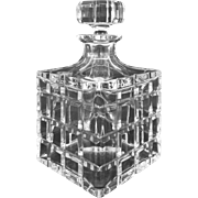 SOLD Classic Square Crystal Whisky Decanter with Stopper - 20th Century, Portugal
