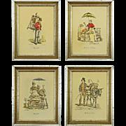 SOLD Set 4 French Street Vendor Lithographs after Carle Vernet