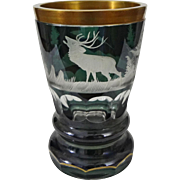 Bohemian Biedermeier Glass Beaker Green Clear Etched Deer, Forest