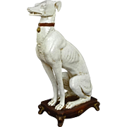 Italian Mid Century Ceramic Greyhound Whippet Figure on Stand - 20th Century, Italy