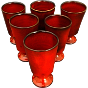 French Cote d'Azur Studio Pottery Red Glazed Faience Set of Six Drinking Vessels / Goblets sig