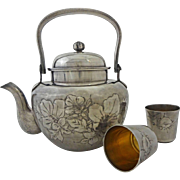 SOLD Asian Silver Teapot and Cups Character Signed Boxed Set - c. 1910 to 1938, Japan