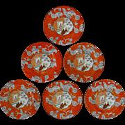 SOLD Set of Six Antique Orange Chinoiserie English Ashworth Ironstone Plates 7 3/8 inch - 1862