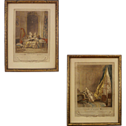 Pair French Engravings Les Confidences and Le Boudoir after Sigismond Freudenberger